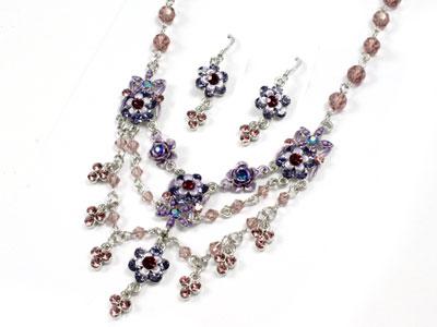 Violet Austrian Crystal Floral Neck Set
